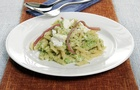Mini Penne Rigate con crema di broccoli, prosciutto cotto e ricotta